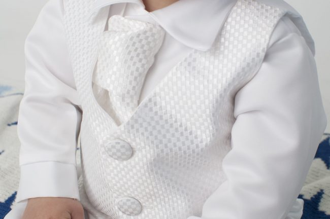 Boys Vivaki Checked Christening Suit in White-511