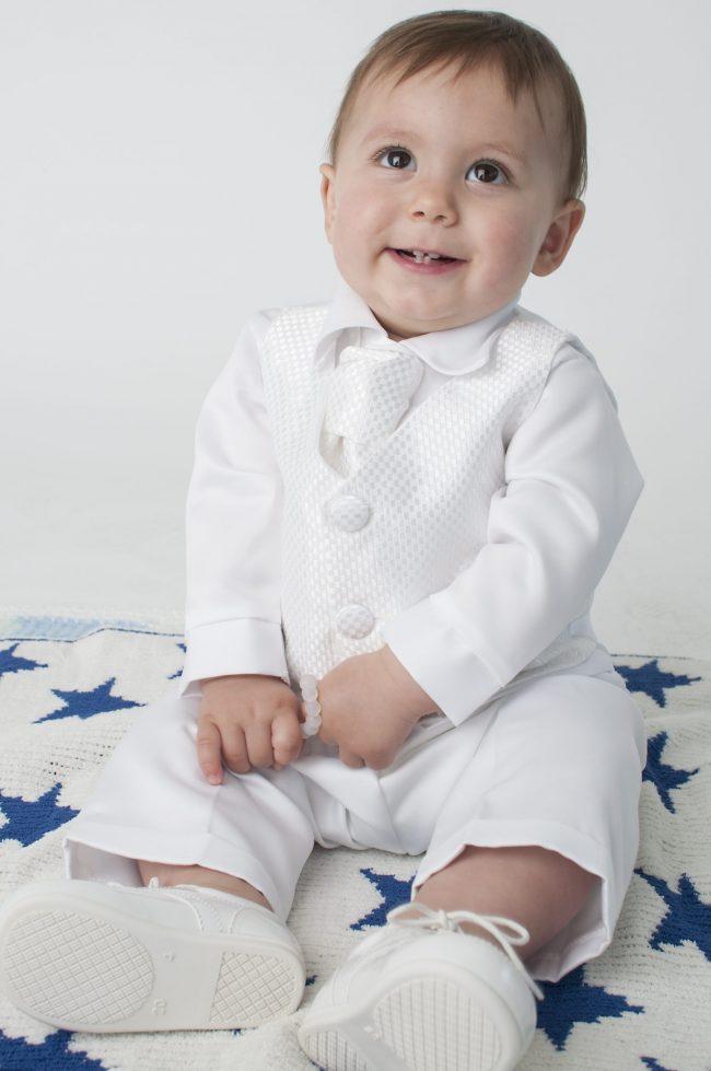 Boys Vivaki Checked Christening Suit in White-512