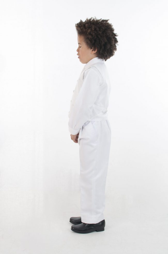 4pc All White Diamond Suit-698