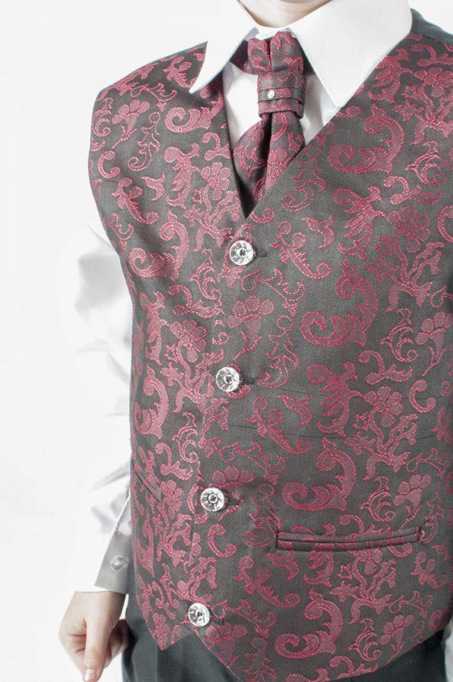 Vivaki 5 Piece Paisley Suit in Wine-898