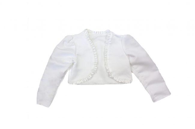 Girls Frilled Bolero in White-0