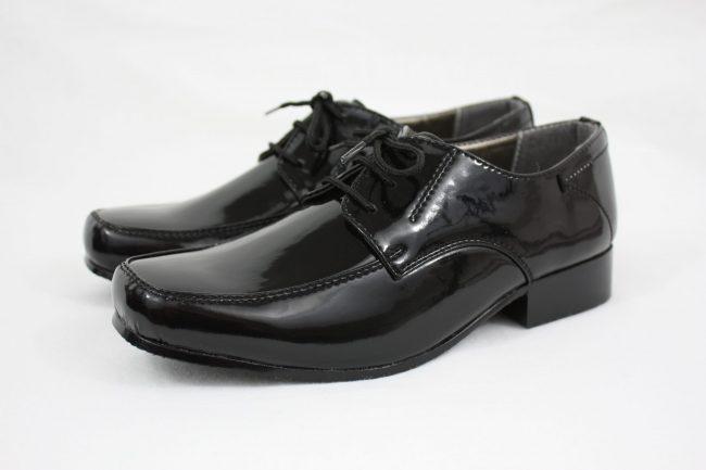 Boys Vivaki William Shoes in Patent Black-0