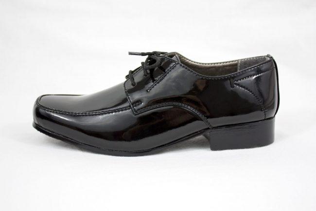 Boys Vivaki William Shoes in Patent Black-1100