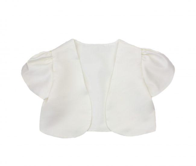 Girls Short Sleeve Bolero in Cream-0