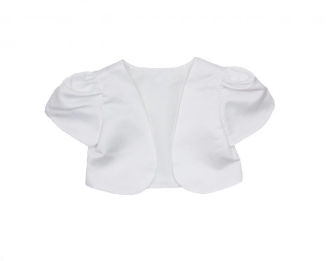 Girls Short Sleeve Bolero in White-0
