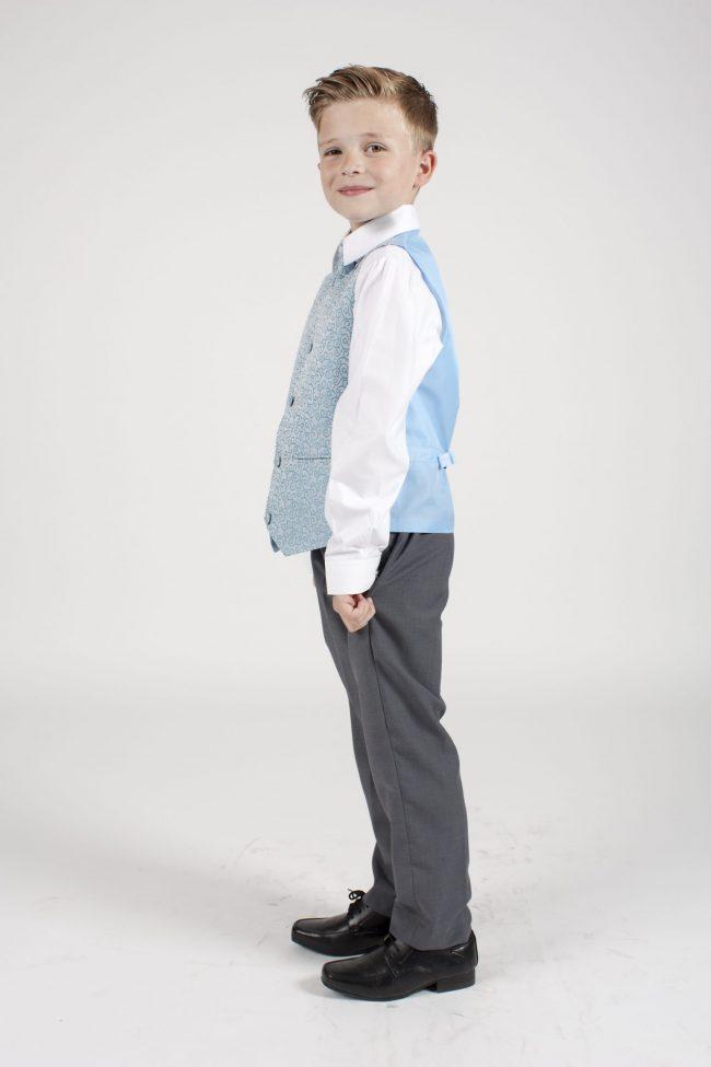 4pc Grey Swirl Suit in Blue-1123