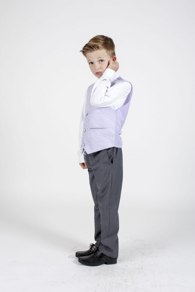 4pc Grey Swirl Suit in Lilac-1135