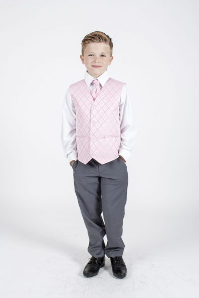 4pc Grey Dobby Suit in Pink-0