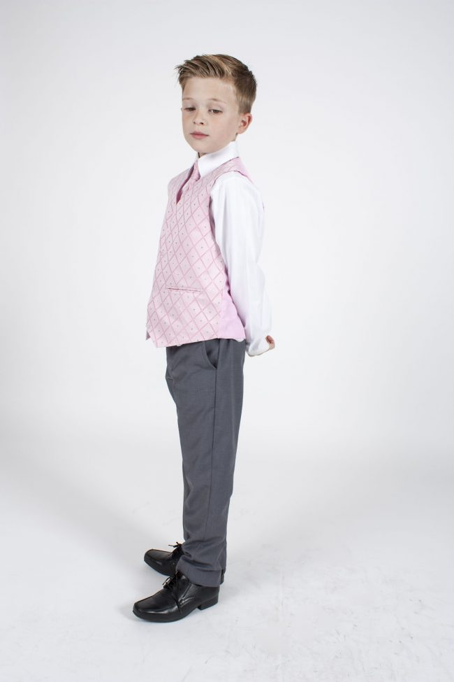 4pc Grey Dobby Suit in Pink-1159