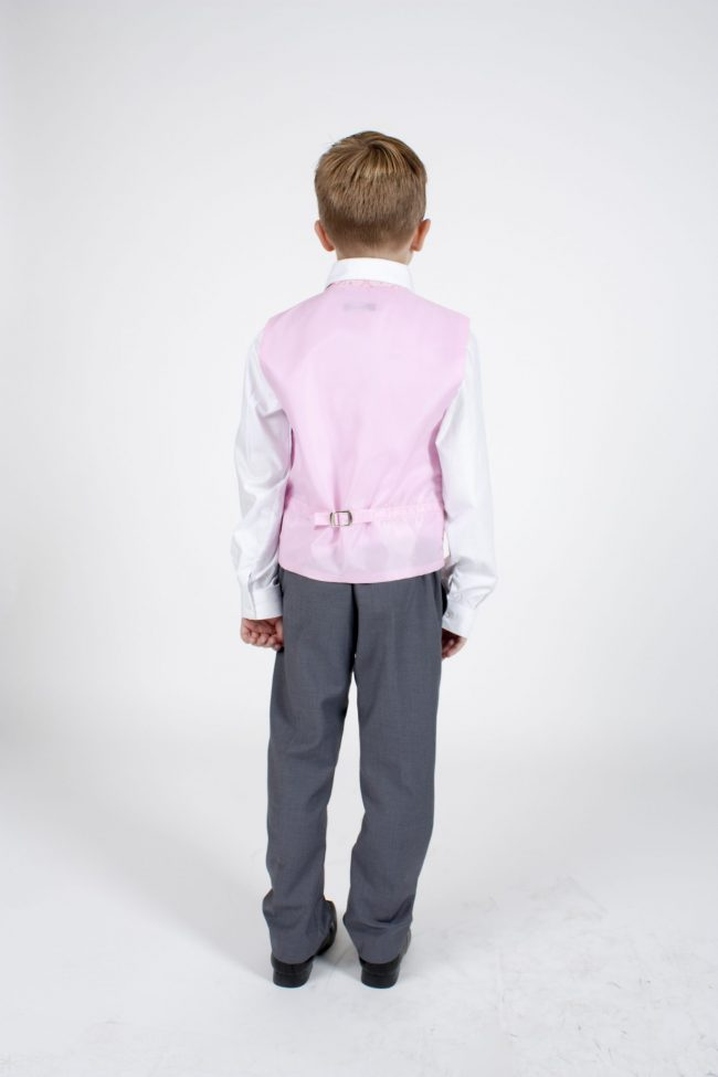 4pc Grey Dobby Suit in Pink-1156
