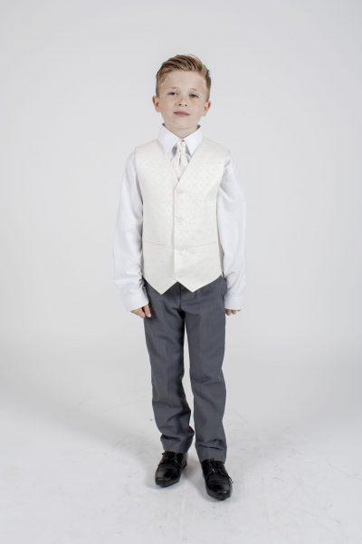 4pc Grey Dobby Suit in Cream-0
