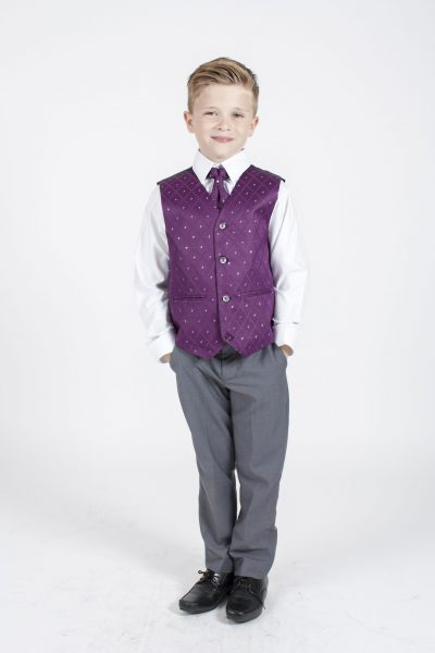 4pc Grey Dobby Suit in Purple-0