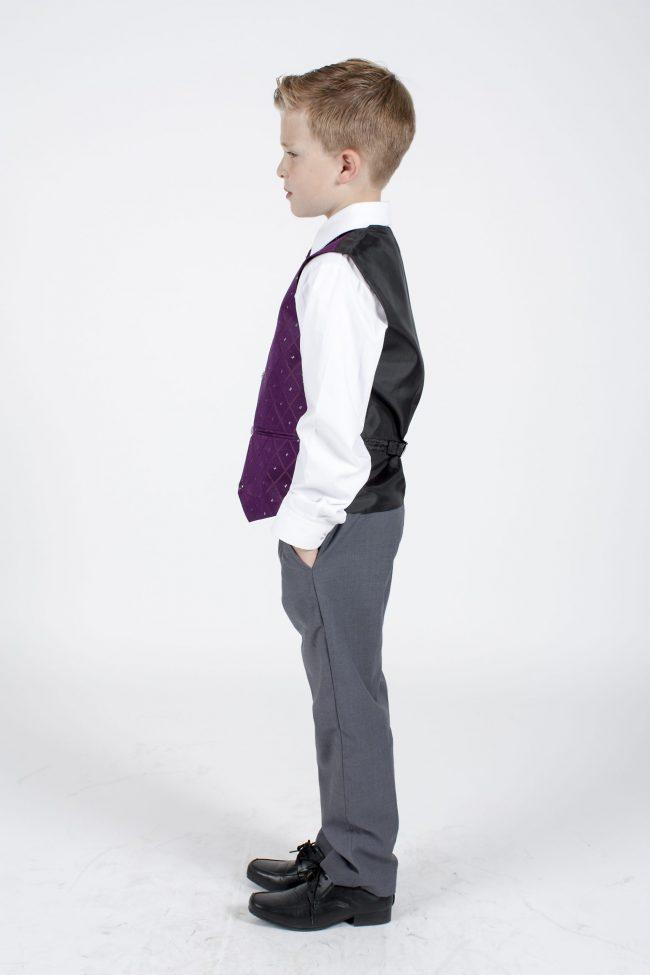 4pc Grey Dobby Suit in Purple-1165