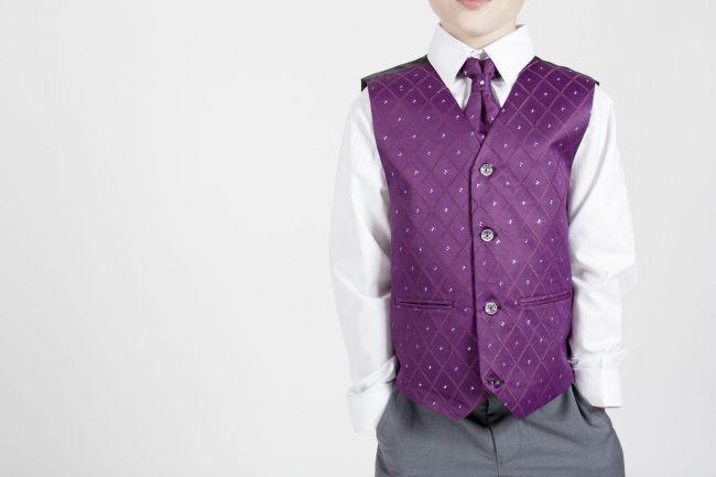 4pc Grey Dobby Suit in Purple-1168