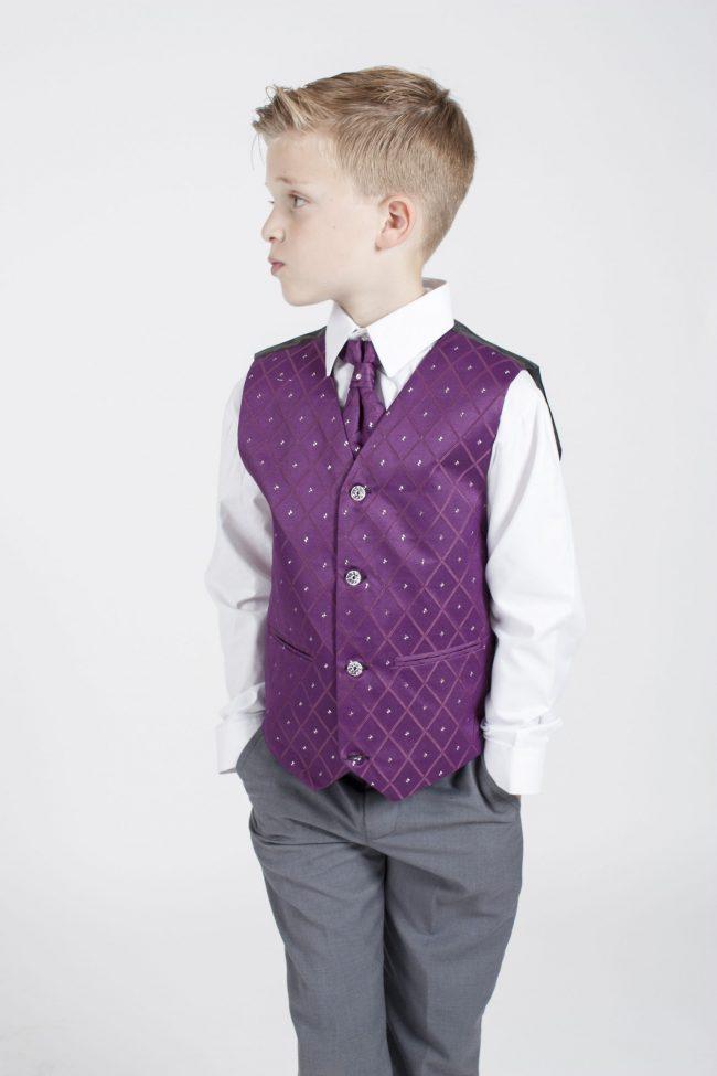 4pc Grey Dobby Suit in Purple-1164