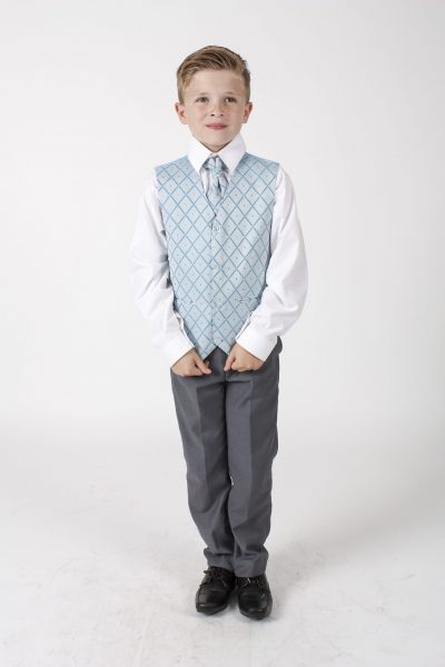 4pc Grey Dobby Suit in Blue-0