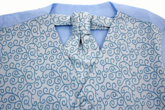 3PC Vivaki Swirl Waistcoat Set in Blue-1256