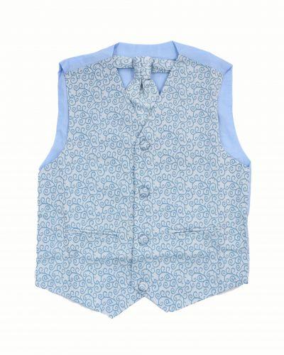 3PC Vivaki Swirl Waistcoat Set in Blue-0