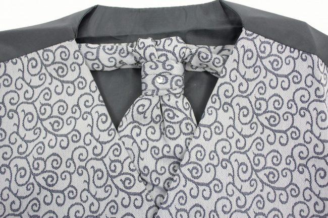 3PC Vivaki Swirl Waistcoat Set in Grey-1264