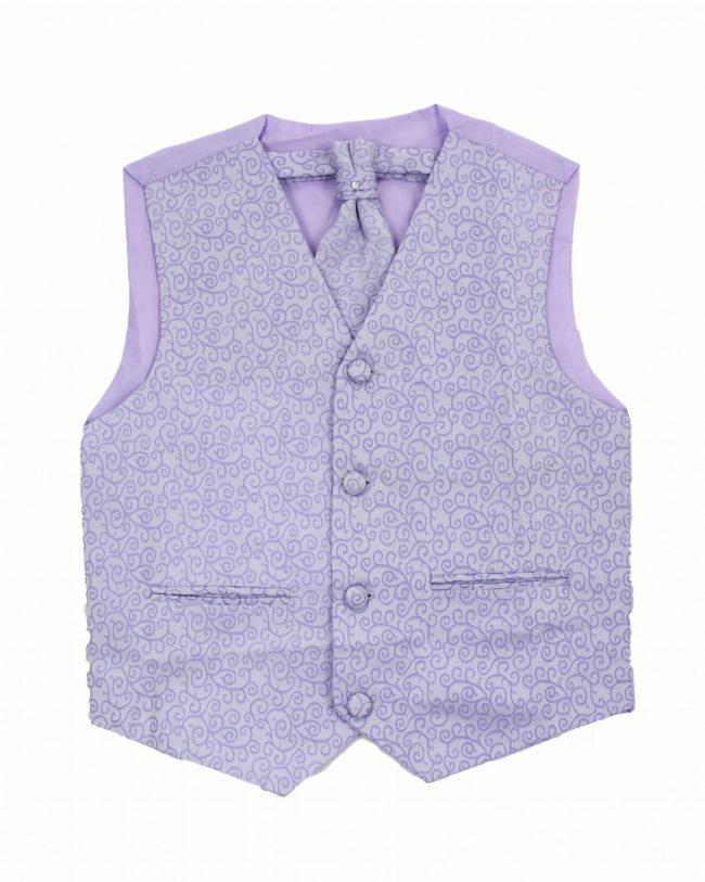 3PC Vivaki Swirl Waistcoat Set in Lilac-0