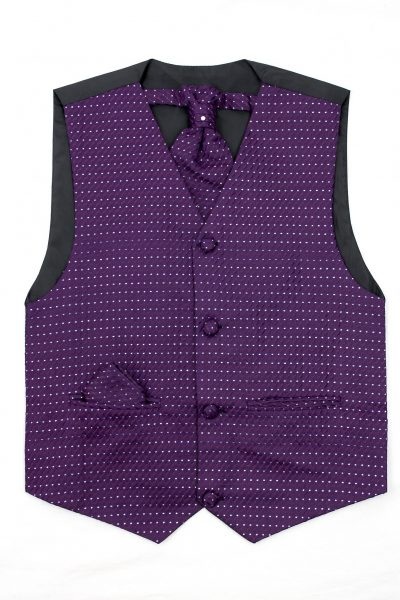 3PC Vivaki Diamond Waistcoat Set in Purple-0