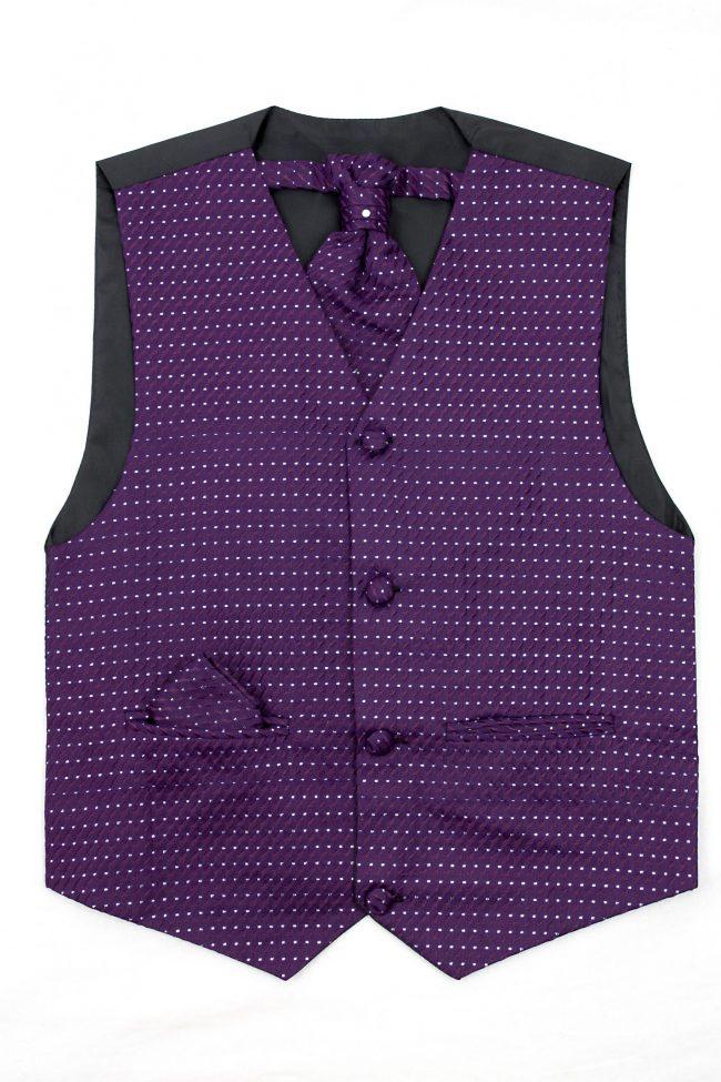 3PC Vivaki Diamond Waistcoat Set in Purple-0