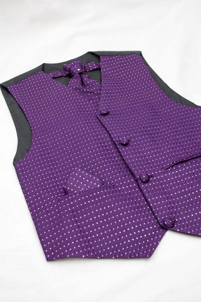 3PC Vivaki Diamond Waistcoat Set in Purple-1230