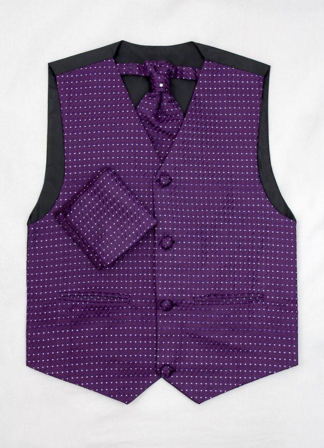 3PC Vivaki Diamond Waistcoat Set in Purple-1231
