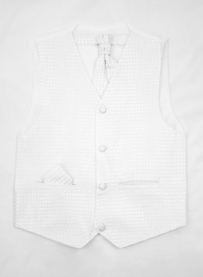 3PC Vivaki Diamond Waistcoat Set in White-0