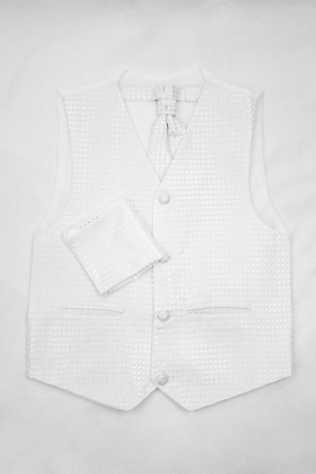 3PC Vivaki Diamond Waistcoat Set in White-1199