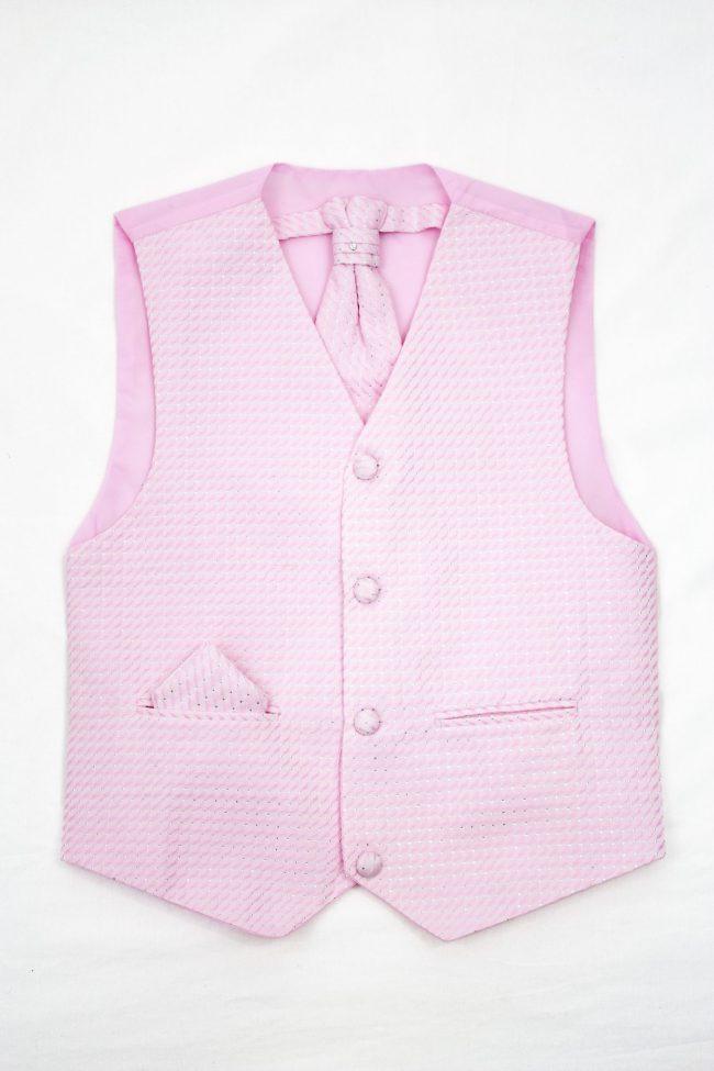 3PC Vivaki Diamond Waistcoat Set in Pink-0