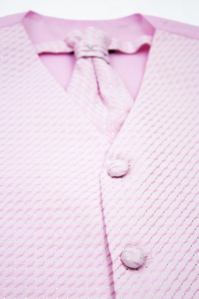 3PC Vivaki Diamond Waistcoat Set in Pink-1210