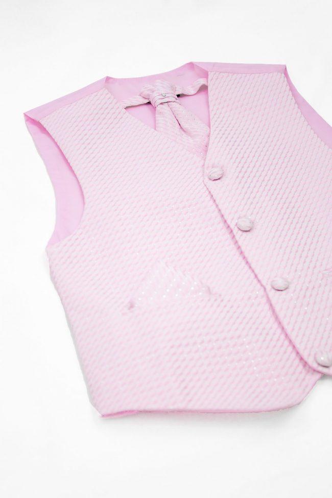 3PC Vivaki Diamond Waistcoat Set in Pink-1209