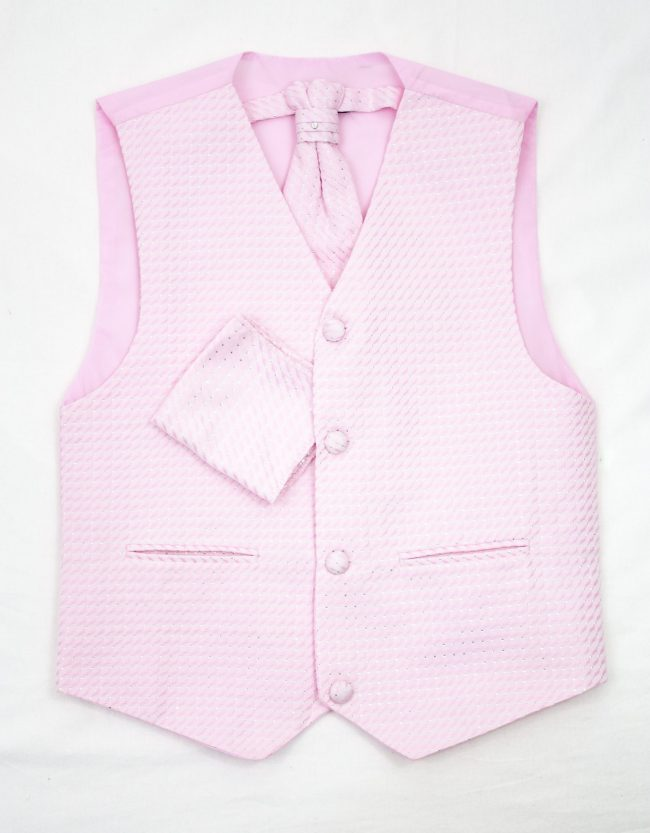 3PC Vivaki Diamond Waistcoat Set in Pink-1213