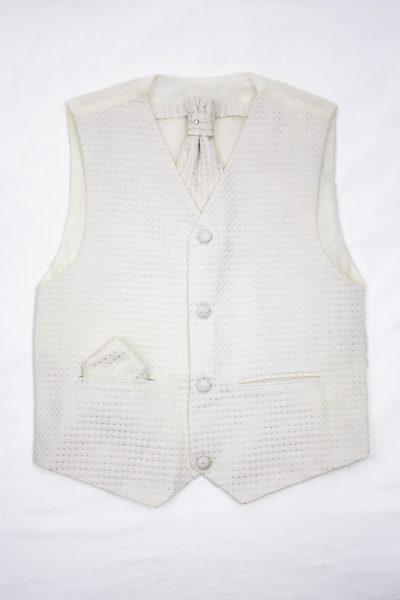 3PC Vivaki Diamond Waistcoat Set in Cream-0