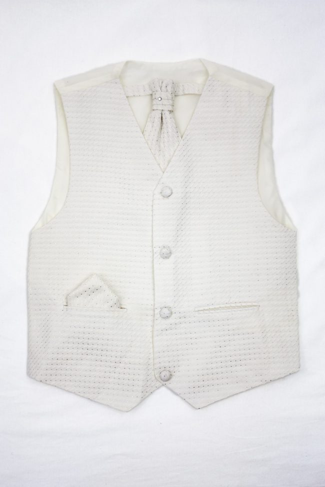 3PC Vivaki Diamond Waistcoat Set in Cream-0