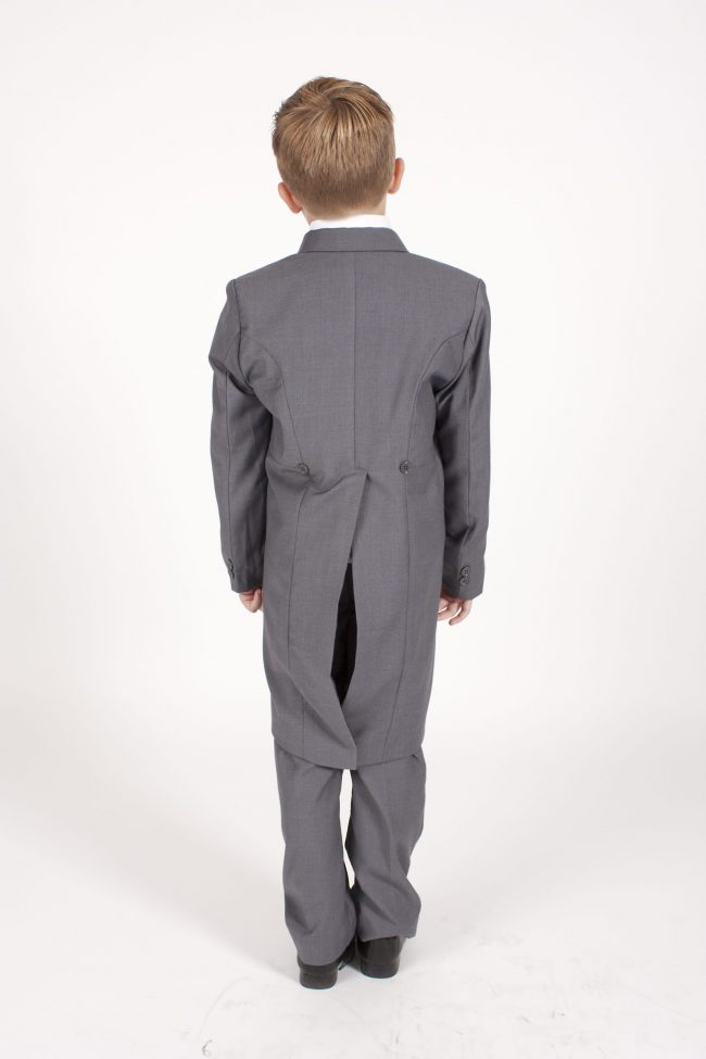 Boys Grey Tailcoat Suit with Blue Diamond-1271