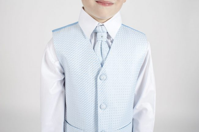 Boys Grey Tailcoat Suit with Blue Diamond-1274