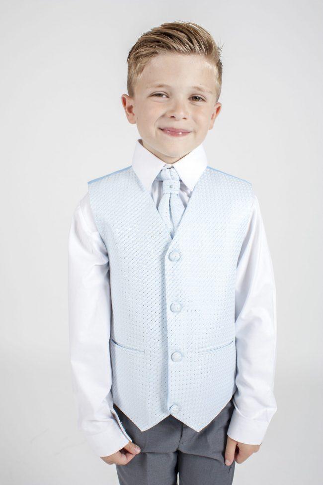 Boys Grey Tailcoat Suit with Blue Diamond-1272