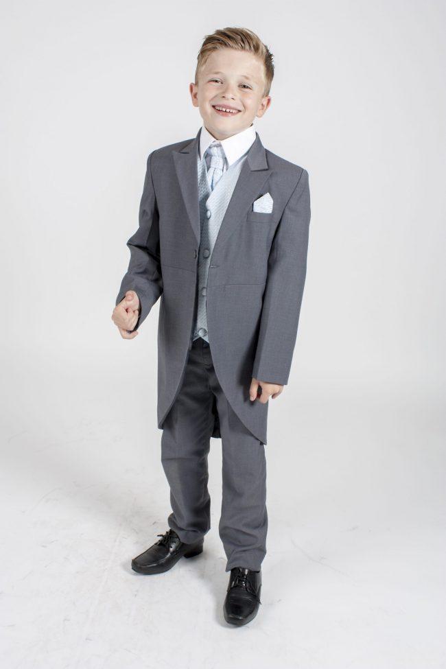 Boys Grey Tailcoat Suit with Blue Diamond-0