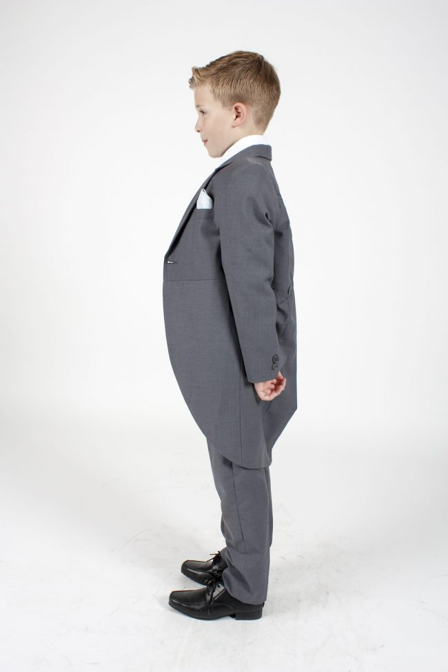 Boys Grey Tailcoat Suit with Blue Diamond-1275