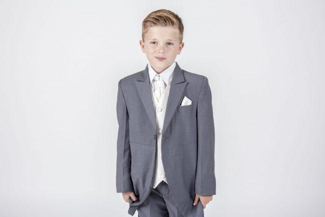 5 piece grey/ cream diamond tailcoat -1311