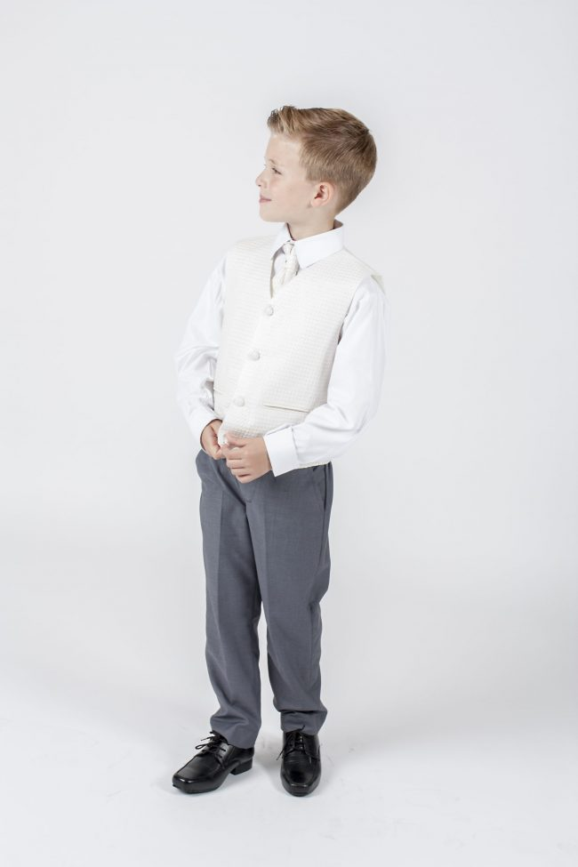 5 piece grey/ cream diamond tailcoat -1310