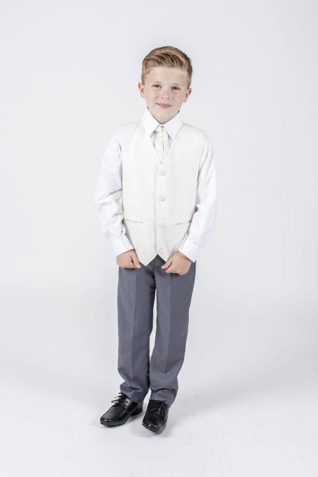 5 piece grey/ cream diamond tailcoat -1312