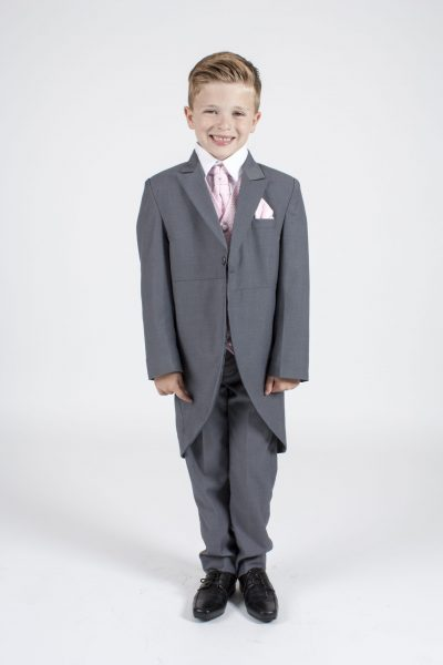 5 piece grey/pink diamond tailcoat -0