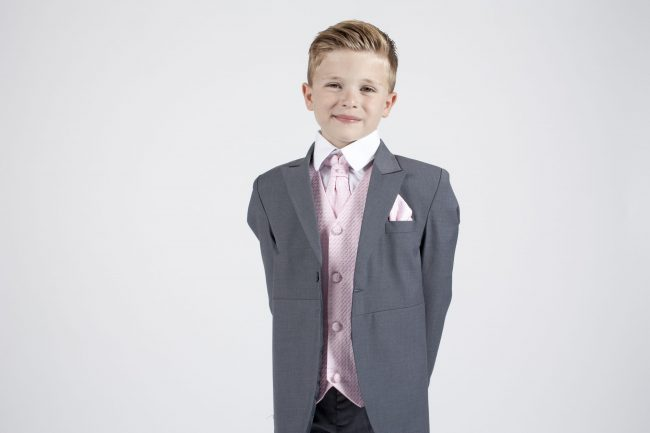 5 piece grey/pink diamond tailcoat -1355