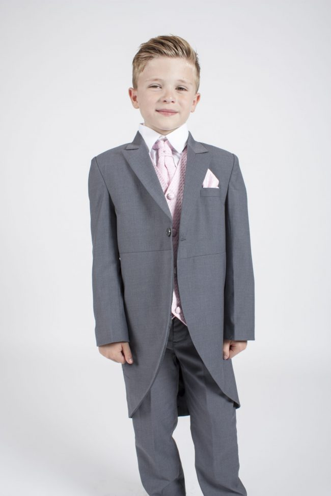 5 piece grey/pink diamond tailcoat -1356