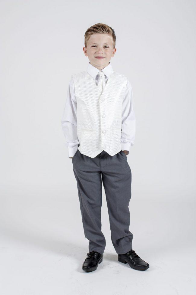 5 piece grey/ivory diamond tailcoat-1334