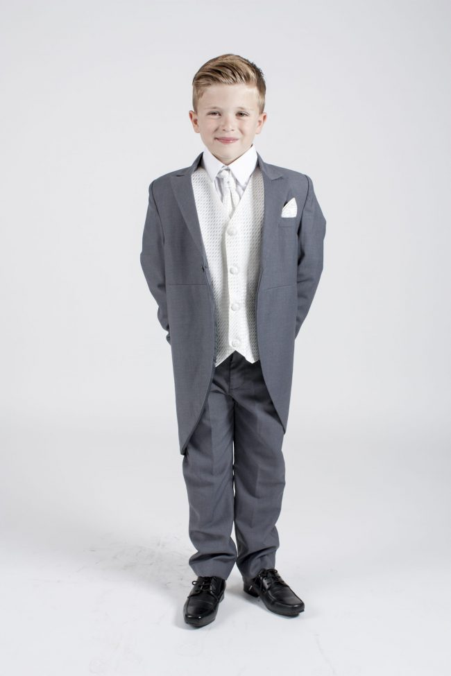 5 piece grey/ivory diamond tailcoat-0