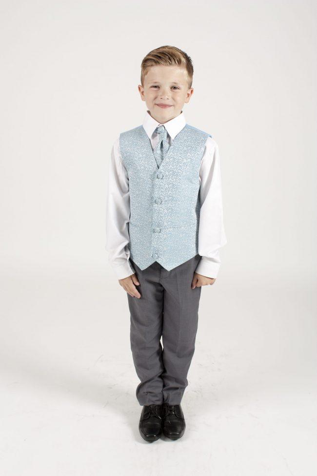 5 Piece Grey/blue swirl tailcoat-1298